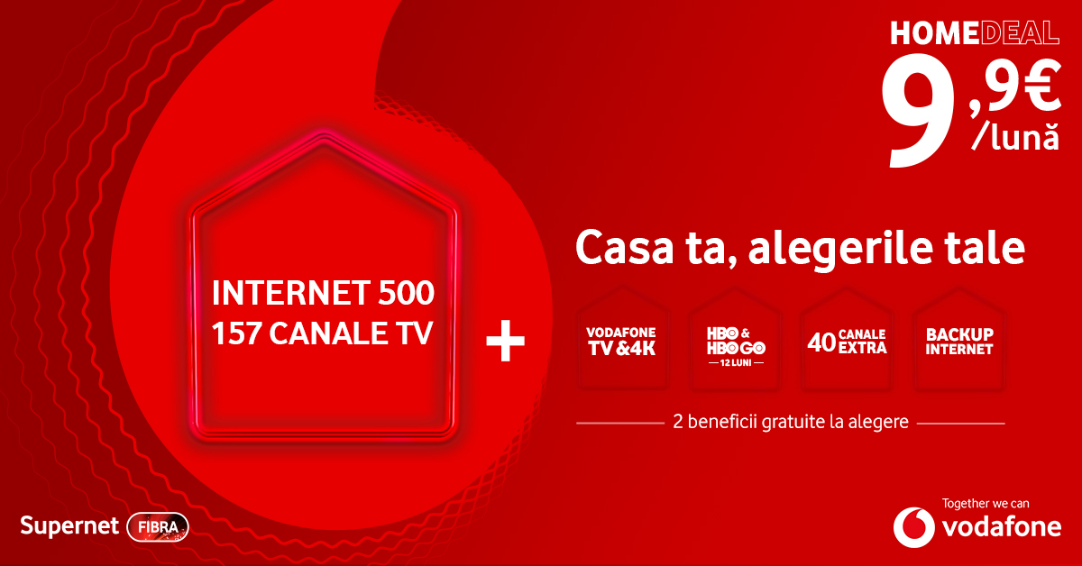 Internet and TV from Vodafone at unbeatable prices, with free benefits at choice